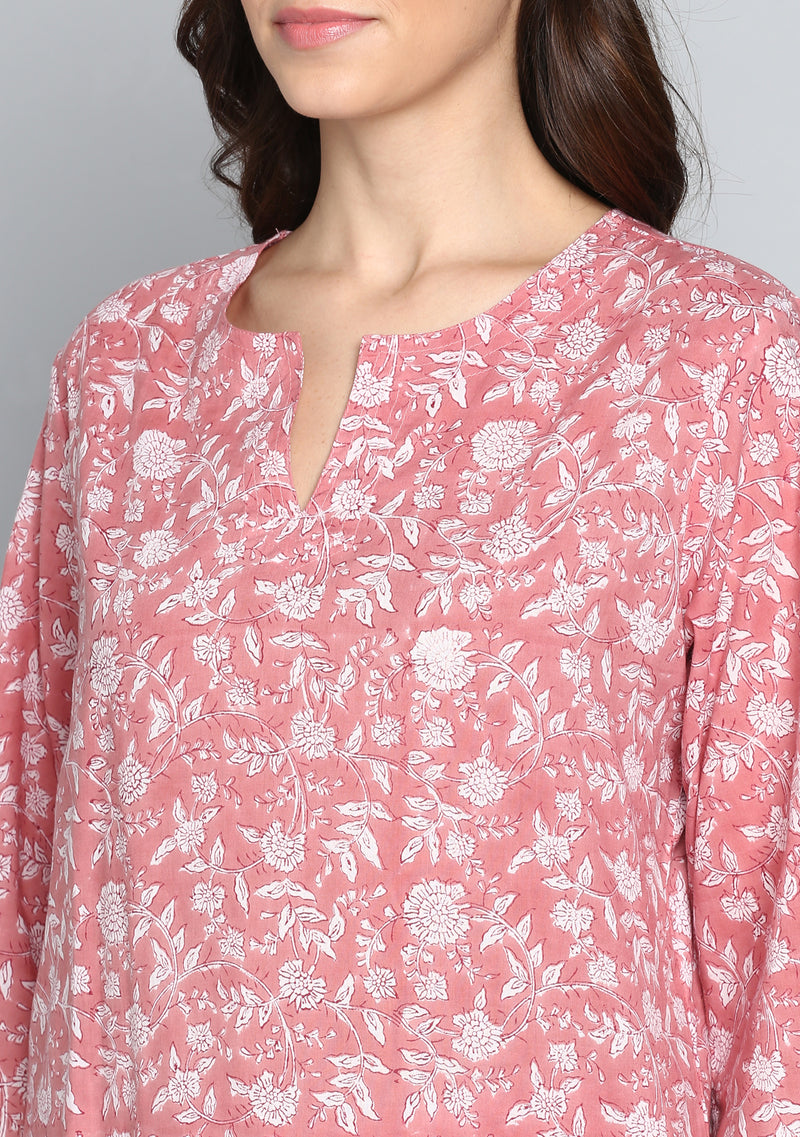 Pink Ivory Hand Block Printed Floral Cotton Night Suit
