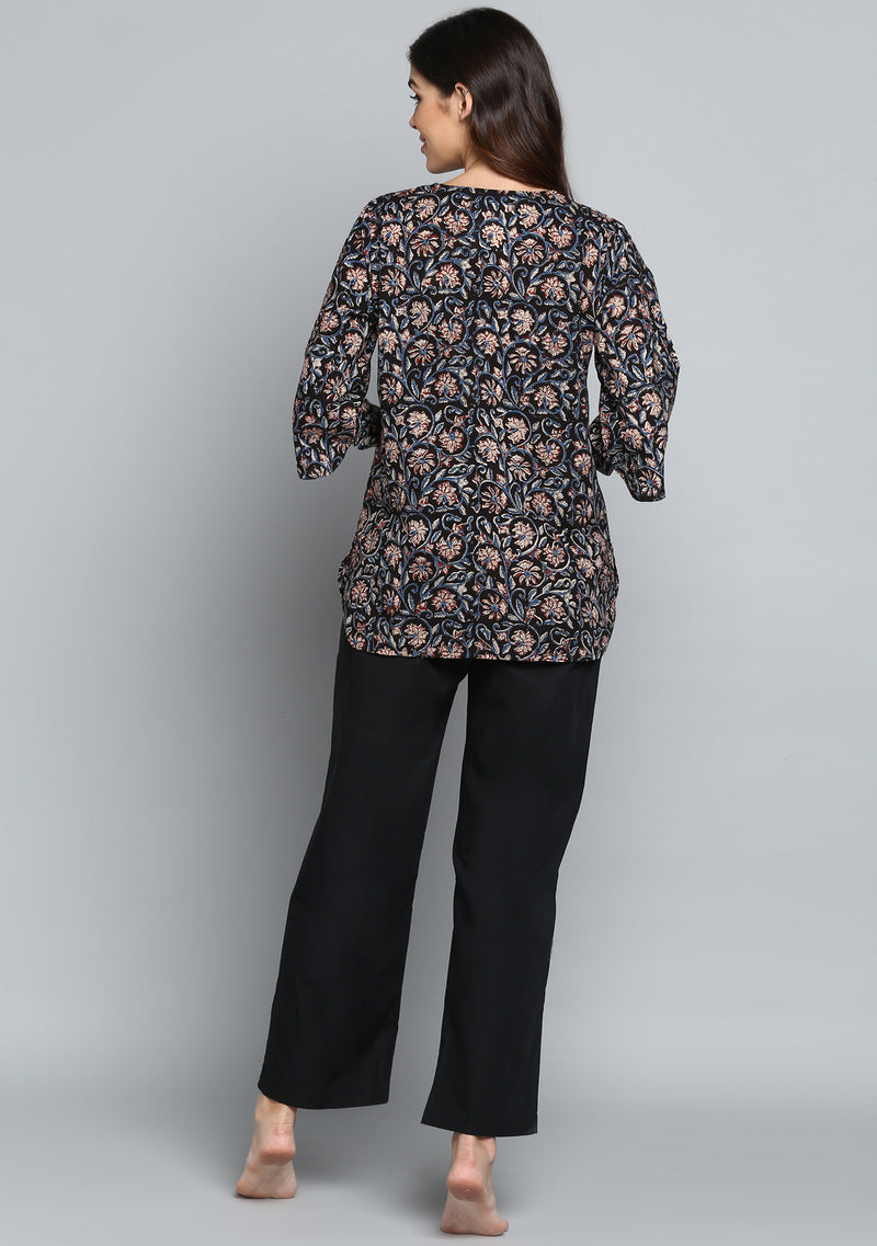 Black Rust Hand Block Printed Floral Cotton Night Suit