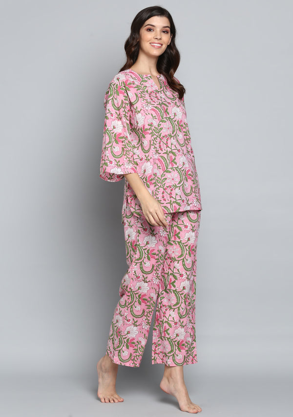 Pink Green Hand Block Printed Floral Cotton Night Suit