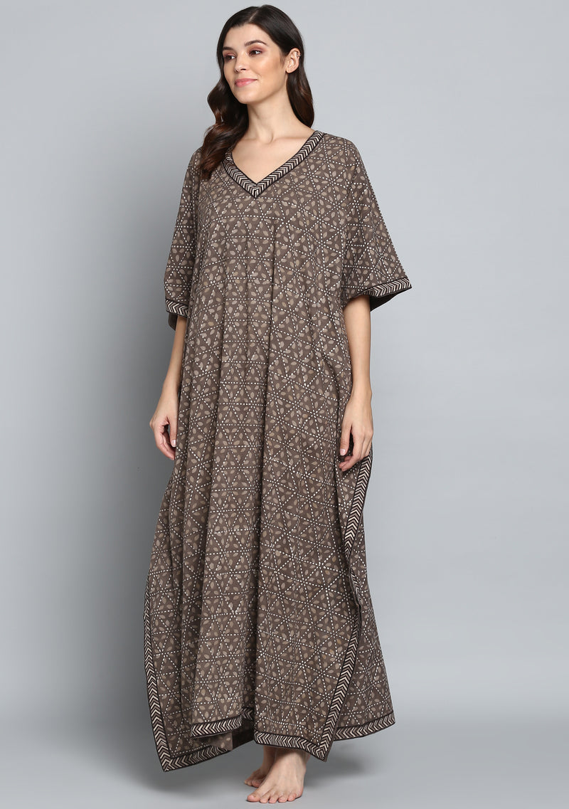 Brown Beige Hand Block Printed Pattern V-Neck Cotton Kaftan