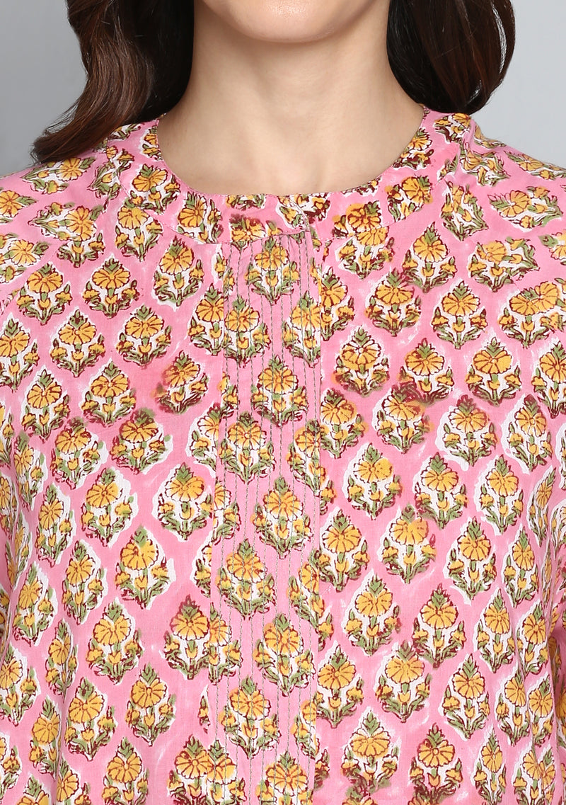 Pink Yellow Flower Motif Hand Block Printed Cotton Night Dress Long Sleeves and Zip Detail
