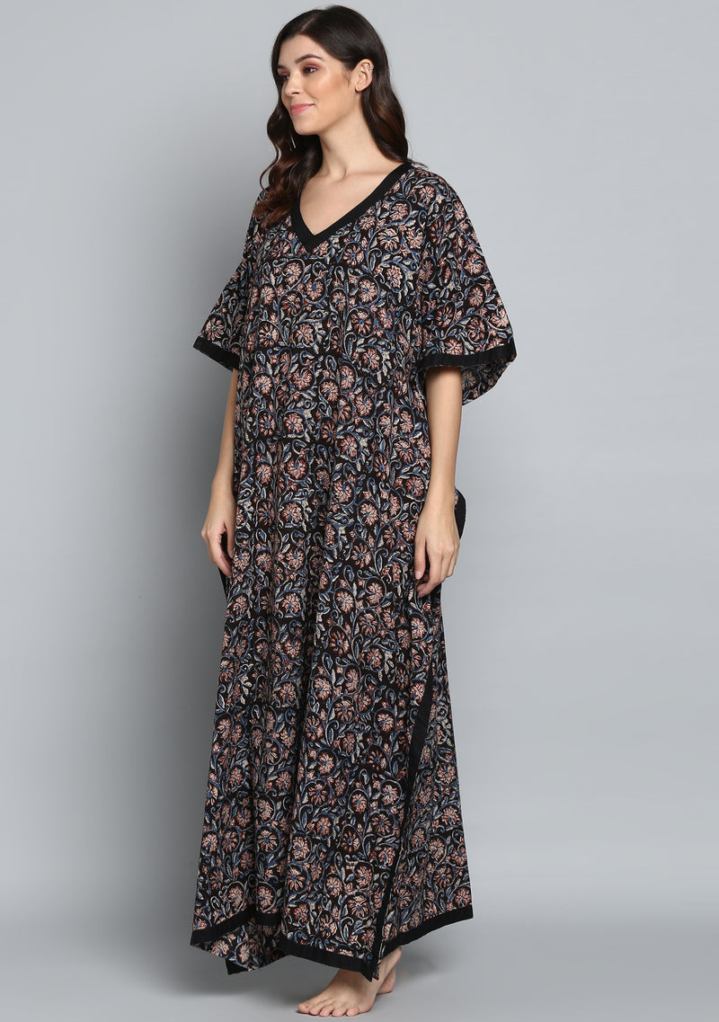 Black Rust Hand Block Printed Floral V-Neck Cotton Kaftan
