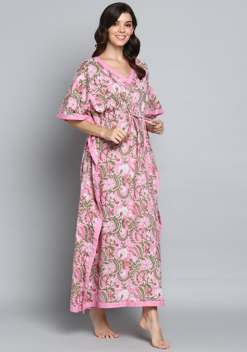 Pink Green Hand Block Printed Floral Tie-Up Waist Cotton Kaftan.