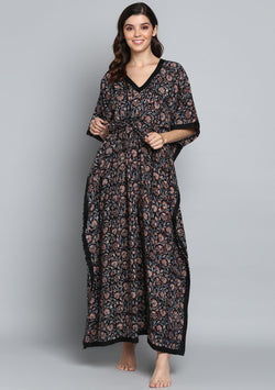Black Rust Hand Block Printed Floral Tie-Up Waist Cotton Kaftan