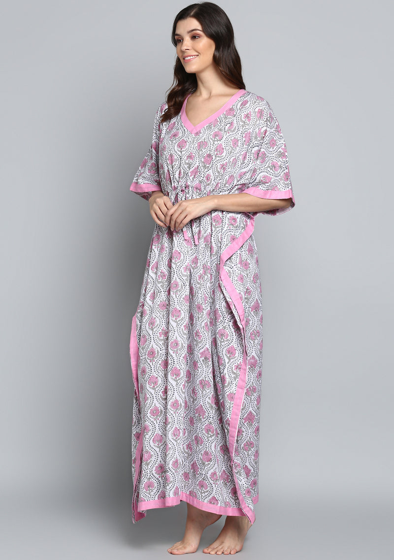 Grey Pink Hand Block Printed Flower Motif Tie- Up Waist Cotton Kaftan