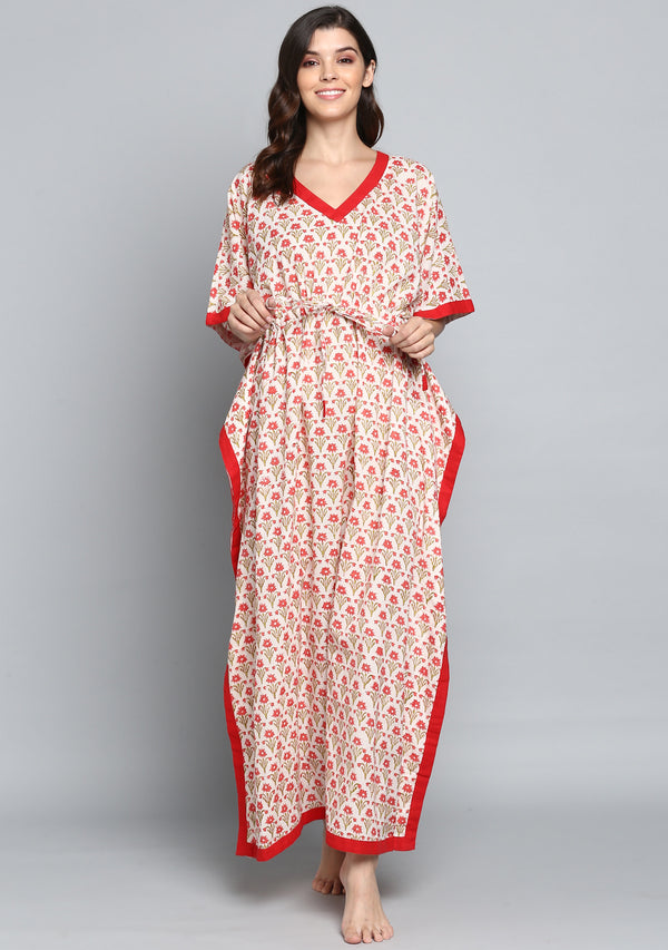 Ivory Red Hand Block Printed Flower Motif Tie-Up Waist Cotton Kaftan