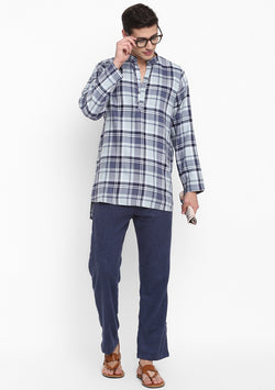 Flannel Blue Grey Check Shirt with Pyjamas For Men