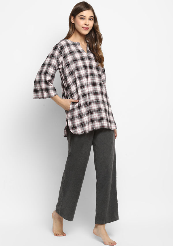 Flannel Grey Brown And Black Check Night Suit