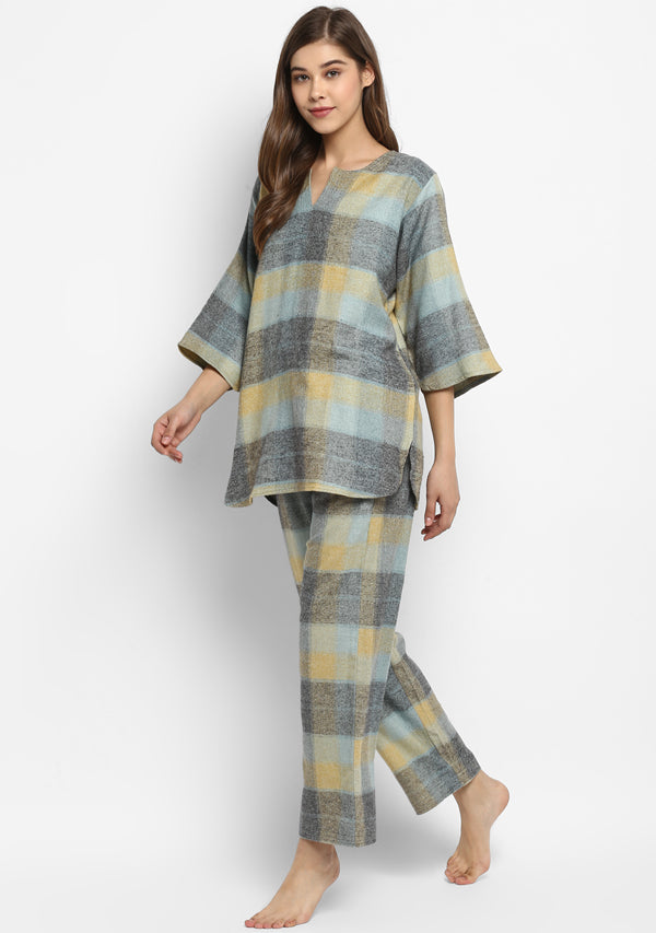 Flannel Grey Yellow Check Night Suit