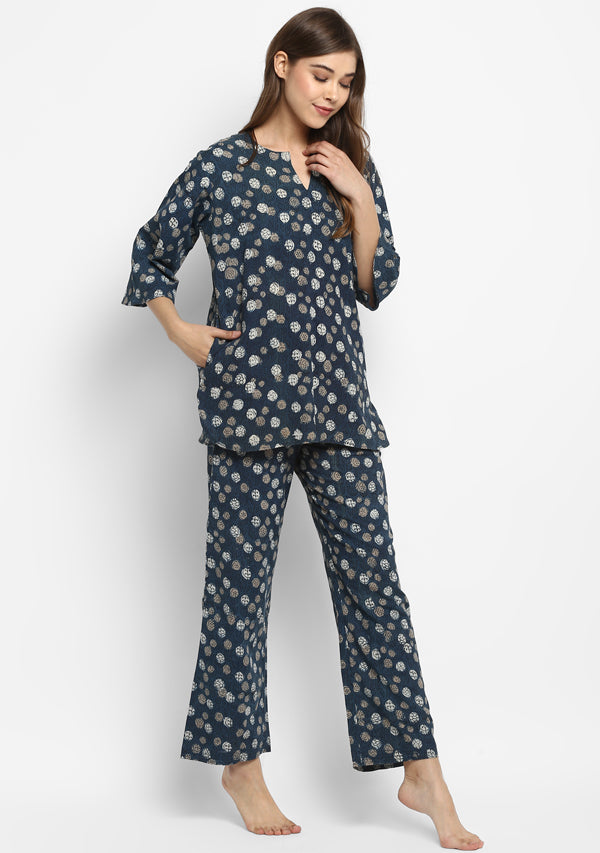 Indigo Beige Hand Block Printed Floral Cotton Night Suit