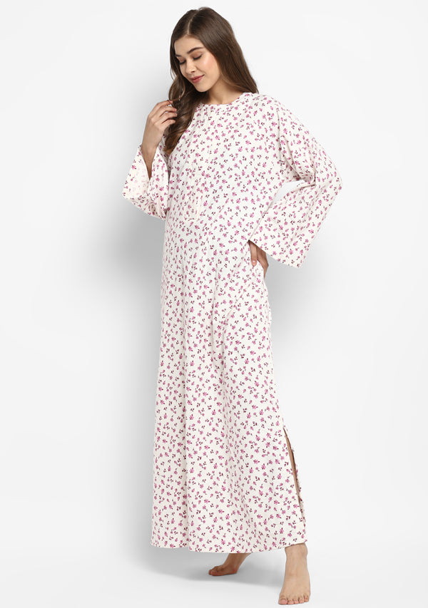 Flannel Ivory Pink Flower Motif Night Dress Long Sleeves and Zip Detail