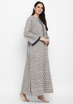 Beige Blue Hand Block Printed Flower Motif Cotton Night Dress with Long Sleeves and Zip Detail