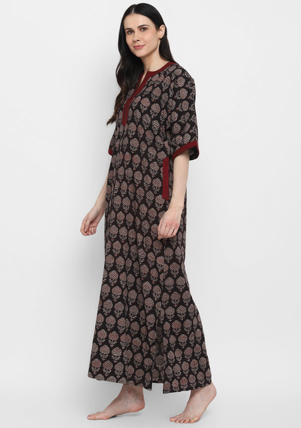 Black Maroon Hand Block Printed Flower Motif Nighty Kaftan with Contrast Stitch Lines