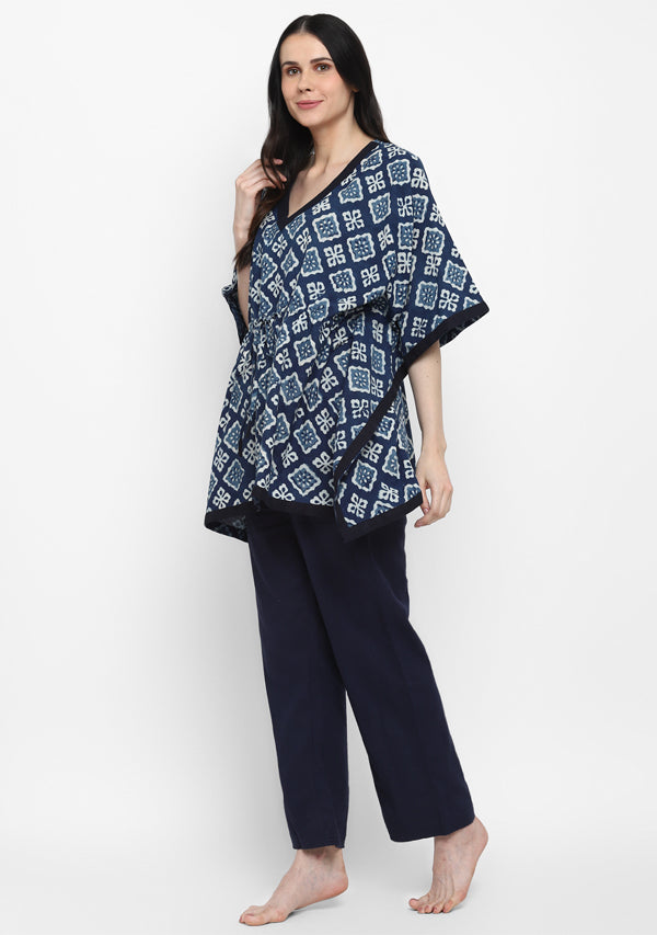 Indigo Ivory Hand Block Printed Floral Short Kaftan with Pyjamas