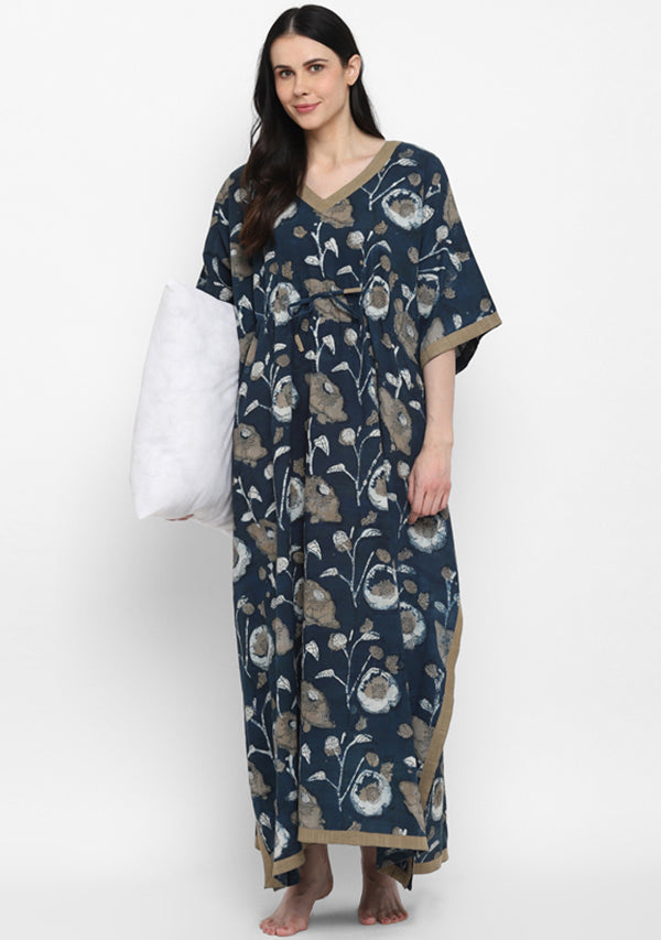 Indigo Beige Hand Block Printed Floral Tie-Up Waist Cotton Kaftan
