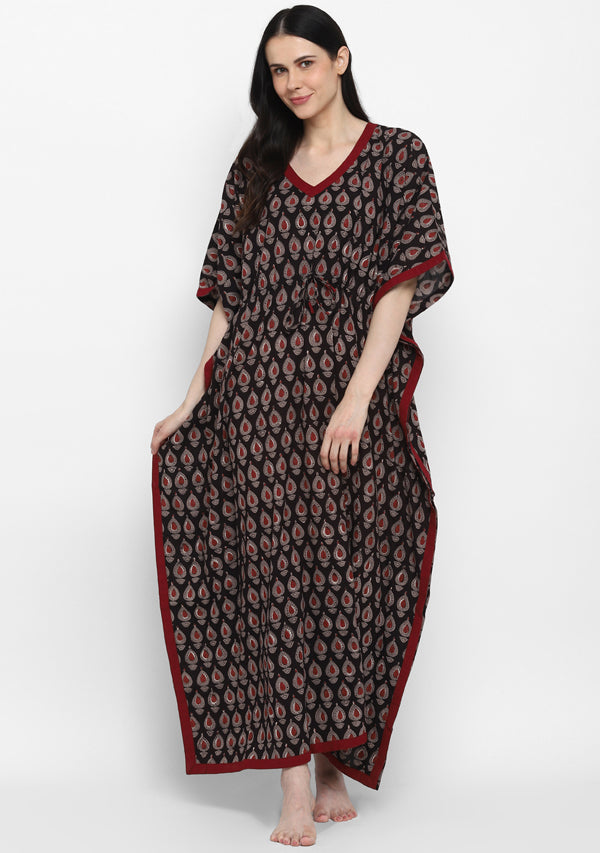 Black Maroon Hand Block Printed Flower Motif Tie- Up Waist Cotton Kaftan