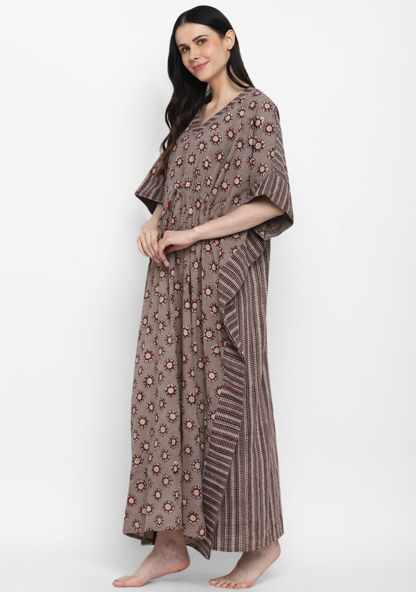 Beige Maroon Hand Block Printed Floral Tie-Up Waist Cotton Kaftan