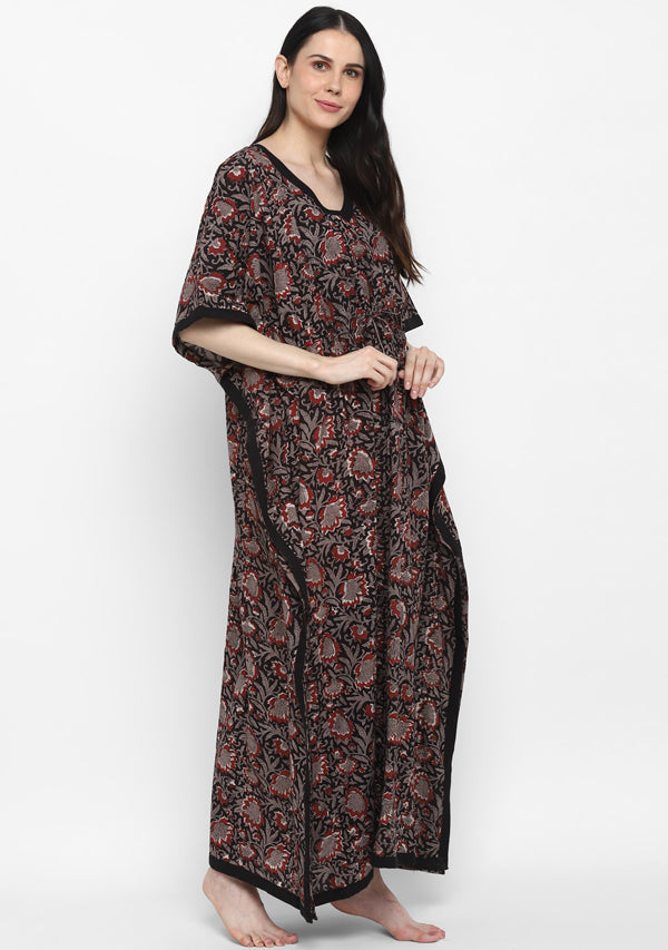 Black Maroon Hand Block Printed Floral Tie-Up Waist Cotton Kaftan