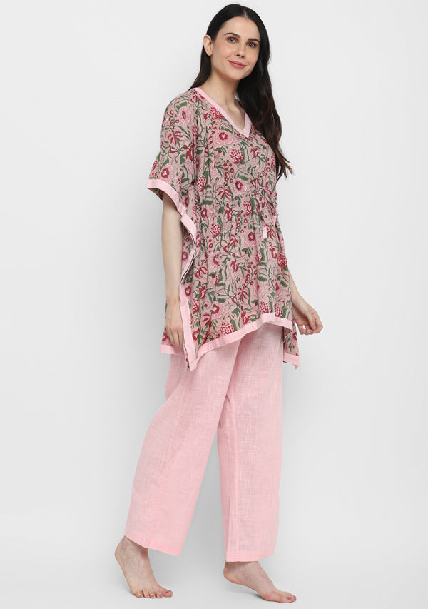 Peach Pink Hand Block Printed Floral Short Kaftan with Pyjamas