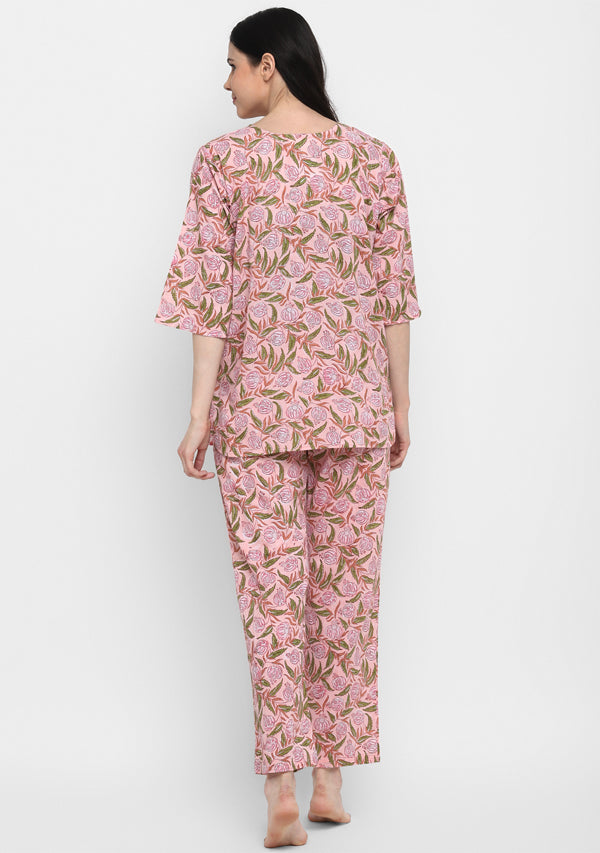 Peach Pink and Green Hand Block Printed Floral Cotton Night Suit