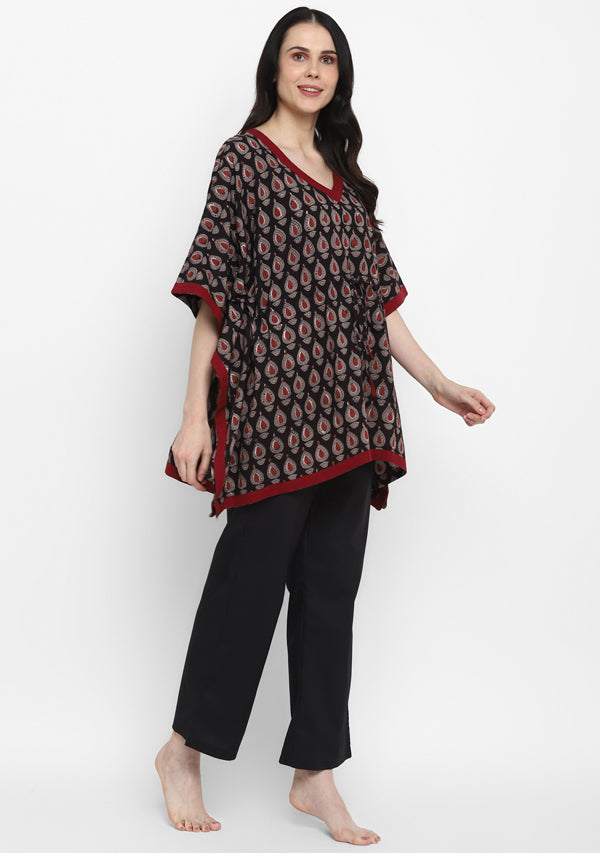 Black Maroon Hand Block Printed Flower Motif Short Kaftan with Pyjamas