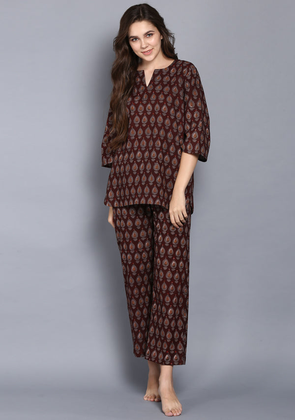 Maroon Grey Hand Block Printed Drop Motif Cotton Night Suit