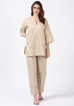 Beige Cotton Night Suit