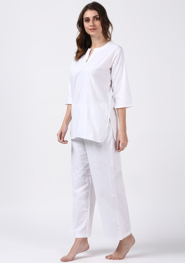 White Cotton Night Suit