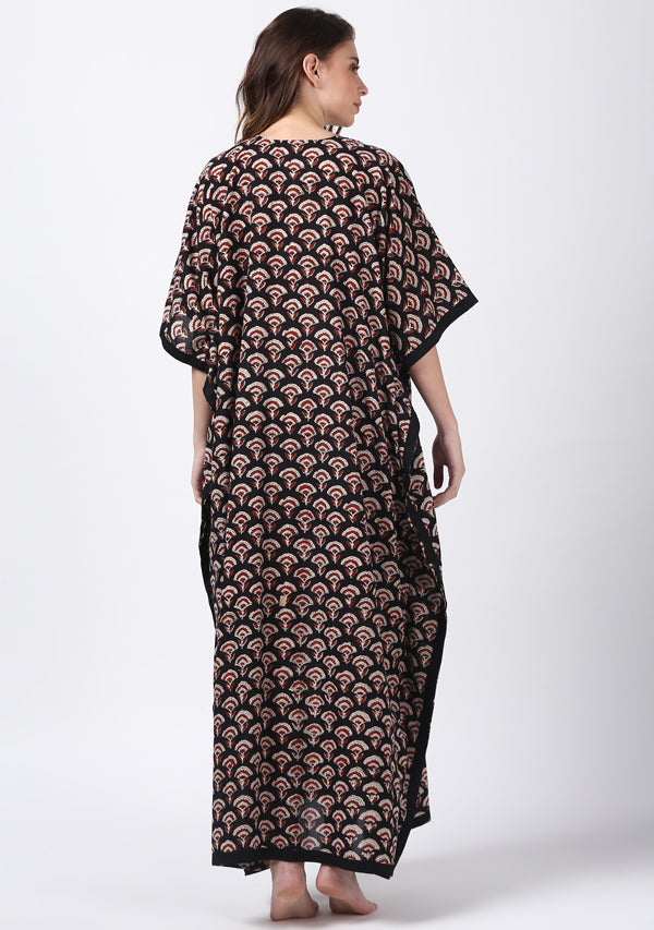 Black Maroon Hand Block Printed Flower Motif V-Neck Cotton Kaftan