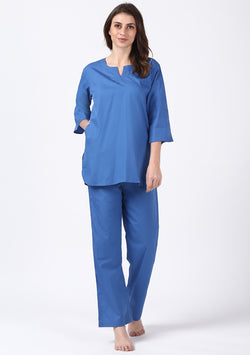 Blue Cotton Night Suit