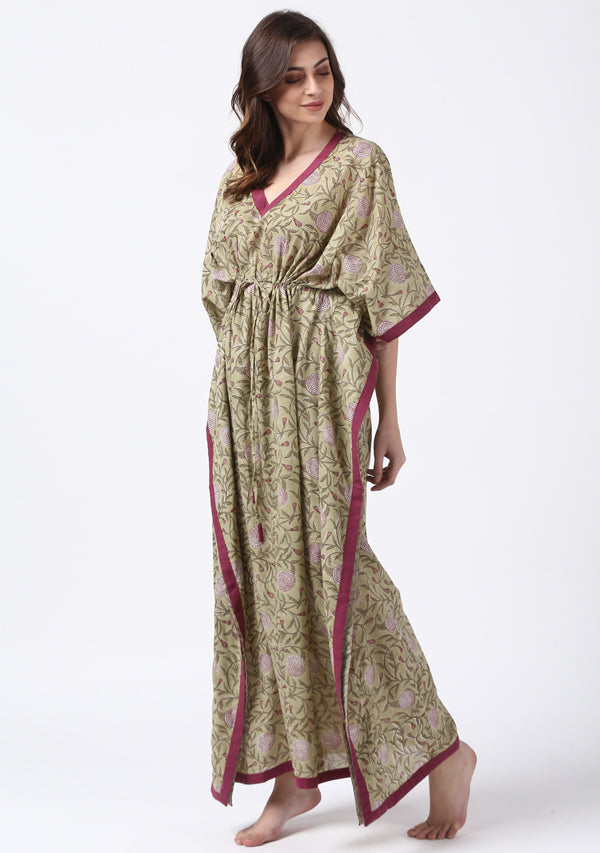 Olive Green Mauve Hand Block Printed Floral Tie-Up Waist Cotton Kaftan