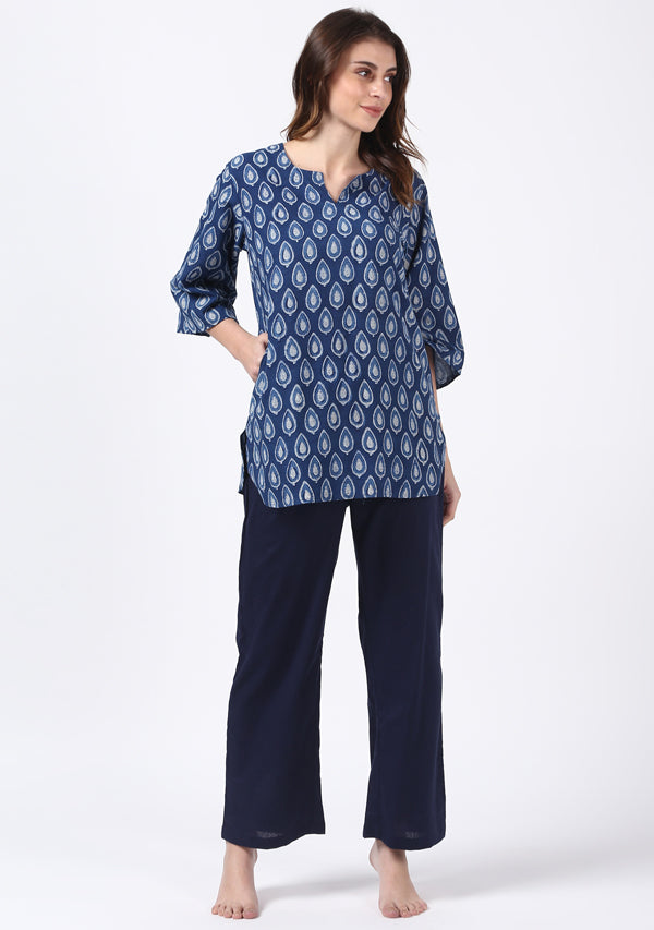 Indigo Ivory Hand Block Printed Leaf Motif Cotton Night Suit