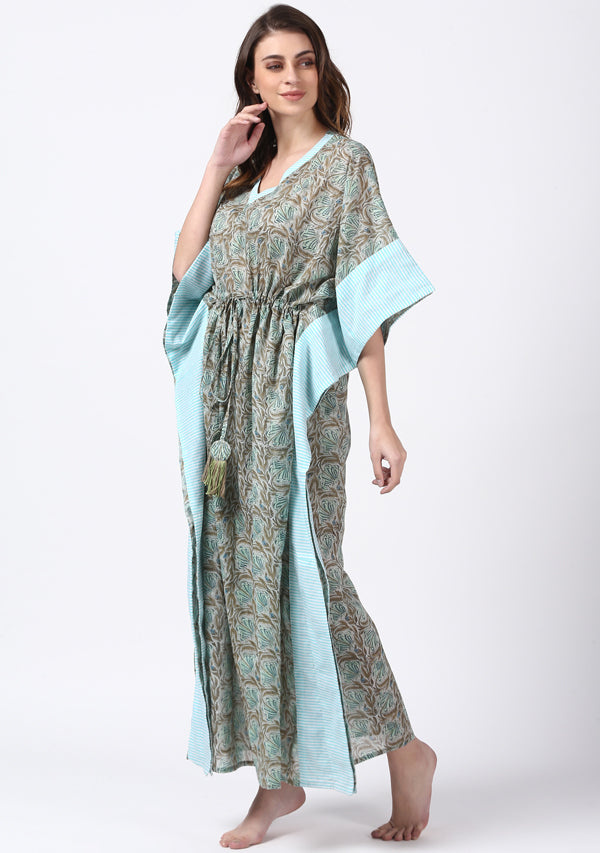 Aqua Khaki Hand Block Printed Floral Tie-Up Waist Cotton Kaftan