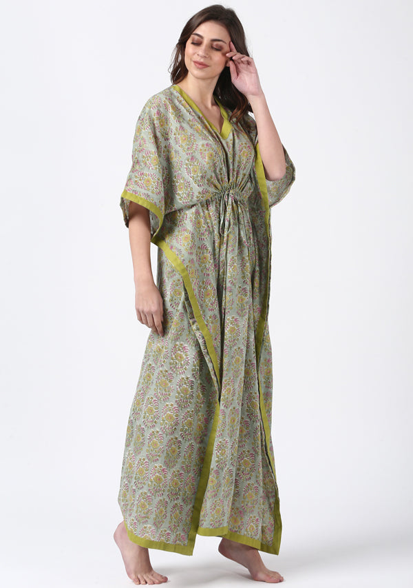 Green Pink Hand Block Printed Floral Tie-Up Waist Cotton Kaftan