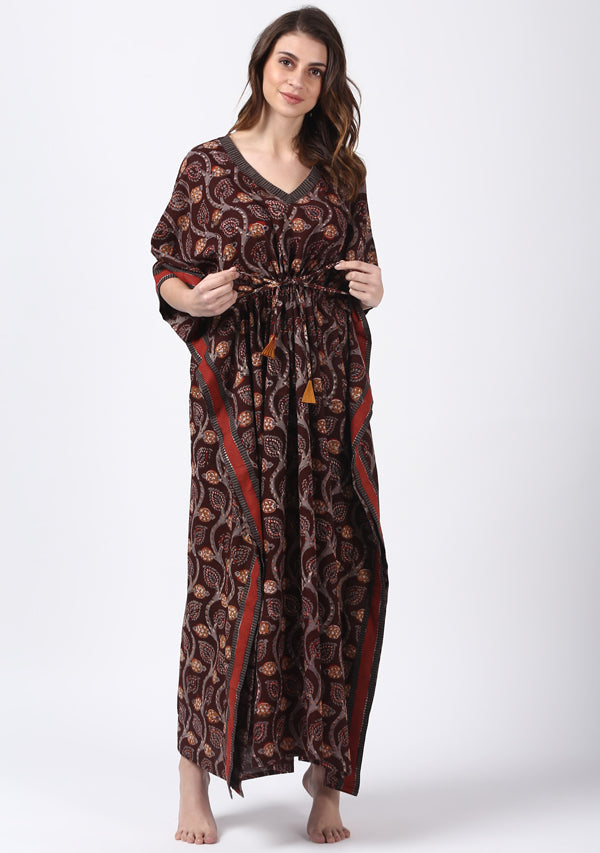 Maroon Grey Hand Block Printed Leaf Motif Tie-Up Waist Cotton Kaftan