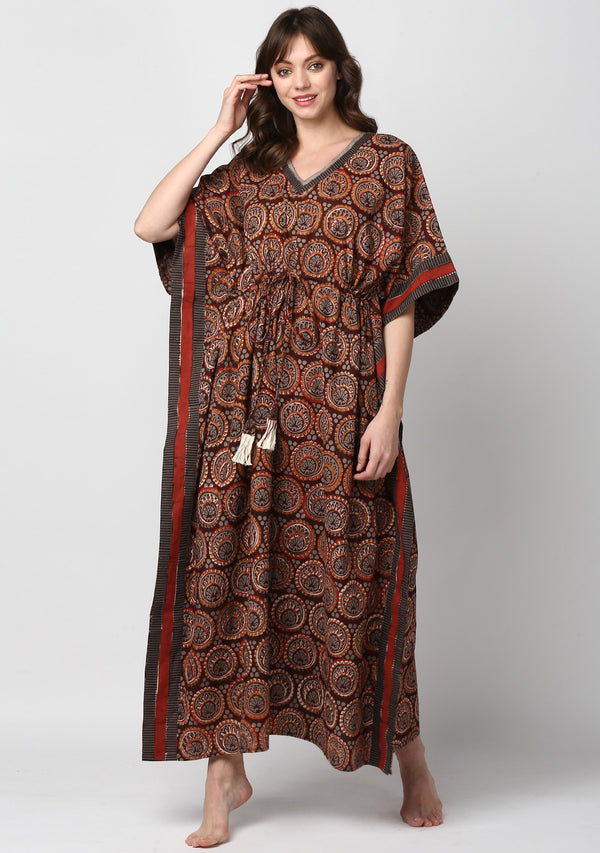 Maroon Grey Circular Motif Hand Block Printed Floral Tie-Up Waist Cotton Kaftan