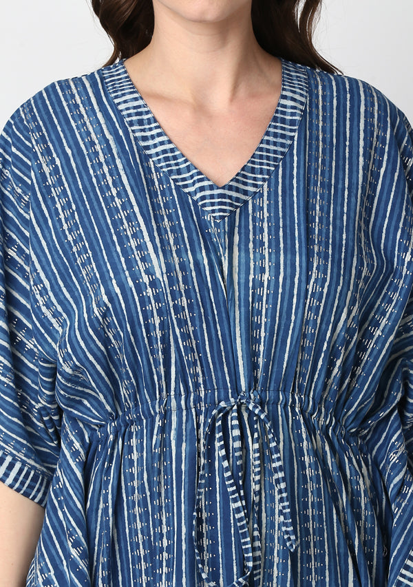 Indigo Ivory Silver Stripe Hand Block Printed Tie-Up Waist Cotton Kaftan