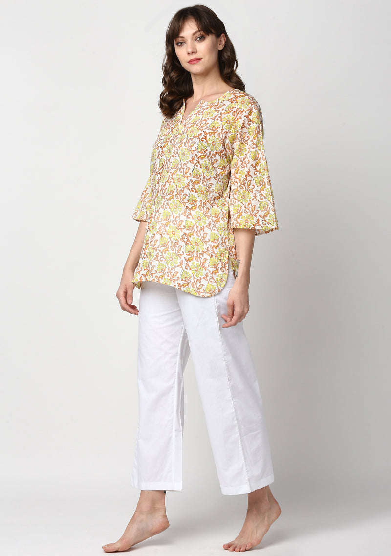 White Yellow Orange Hand Block Printed Floral Cotton Night Suit