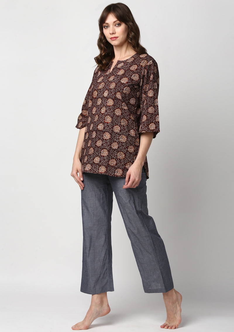 Brown Grey Hand Block Printed Floral Cotton Night Suit