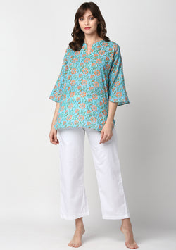 Turquoise Orange Hand Block Printed Floral Cotton Night Suit