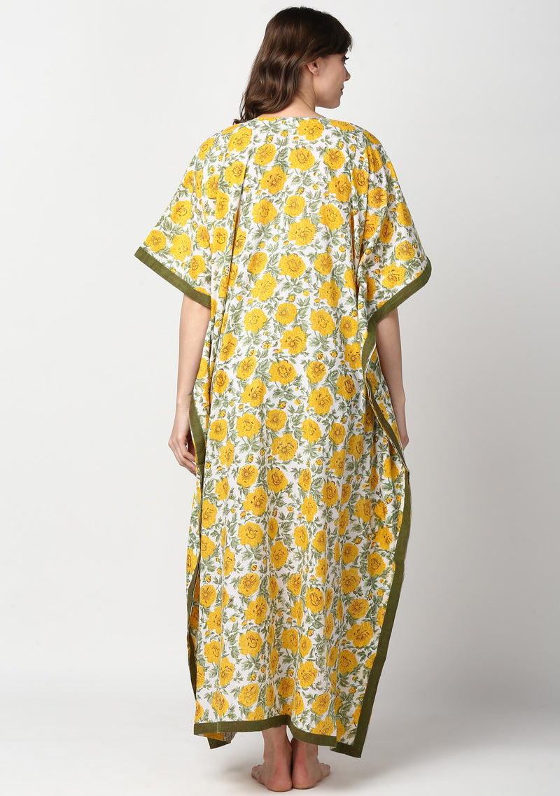 Yellow Green Hand Block Printed Floral V-Neck Cotton Kaftan