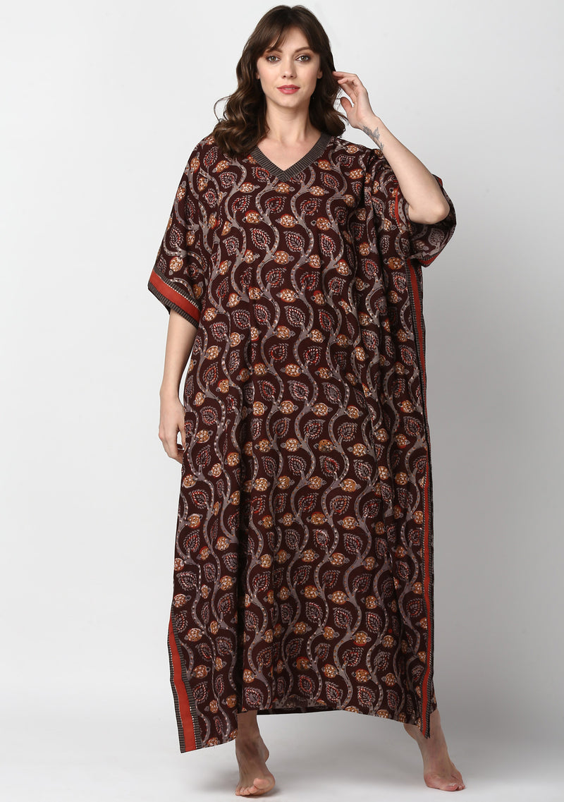 Maroon Grey Hand Block Printed Leaf Motif V-Neck Cotton Kaftan