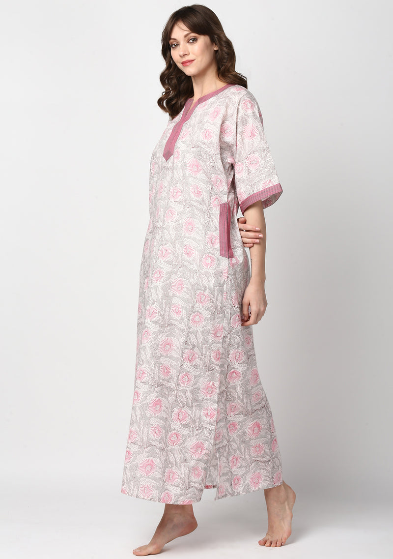 Grey Pink Hand Block Printed Floral Nighty Kaftan with Stitch Lines