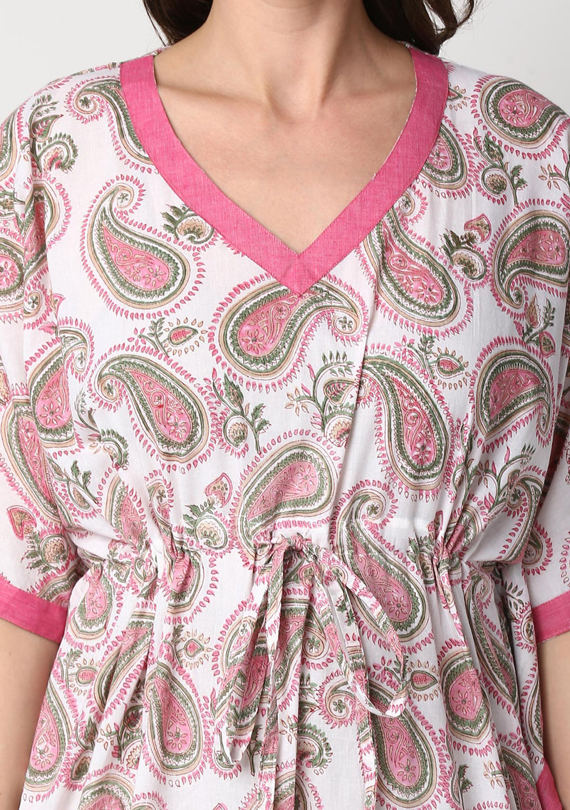 Ivory Pink Paisley Motif Hand Block Printed Floral Tie-Up Waist Cotton Kaftan