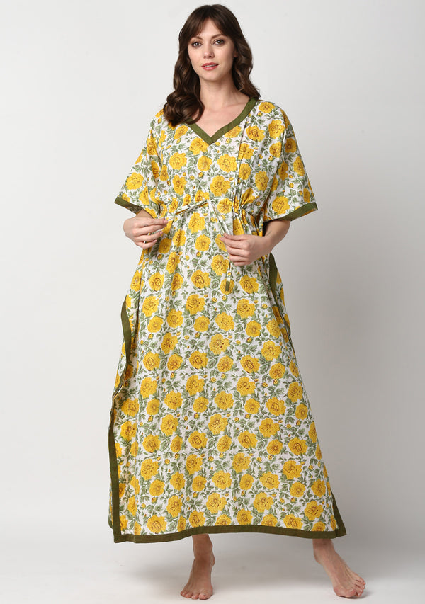 Yellow Green Hand Block Printed Floral Tie-Up Waist Cotton Kaftan