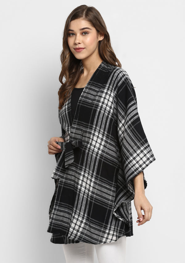 Flannel Black White Check Cape Jacket with Tie Up Belt