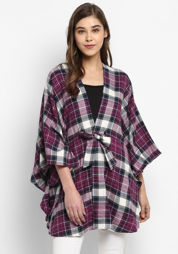 Flannel Maroon Black Check Cape Jacket with Tie Up Belt