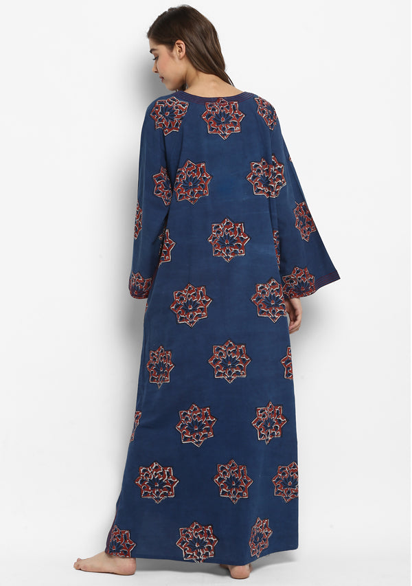 Indigo Red Star Motif  Hand Block Printed Cotton Night Dress with Long Sleeves