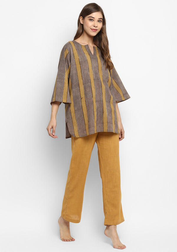 Yellow Grey Striped Hand Block Printed Floral Cotton Night Suit