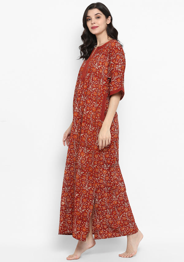 Maroon Orange Hand Block Printed Floral Nighty Kaftan with Stitch Lines